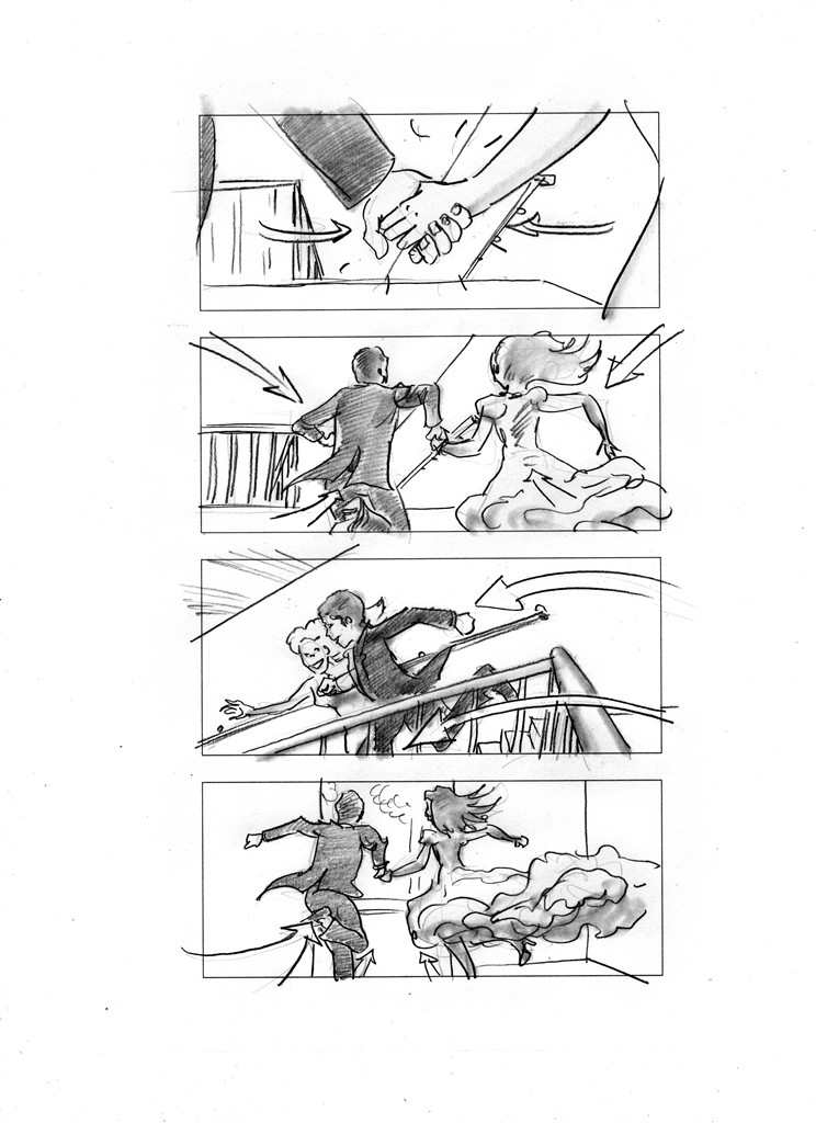 Storyboard of the hand off sequence