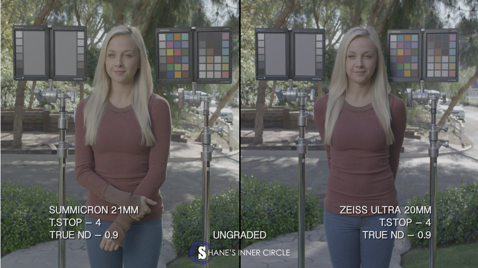 Side by side comparison, Leica Summicron 21mm and Zeiss Ultra 20mm, both ungraded